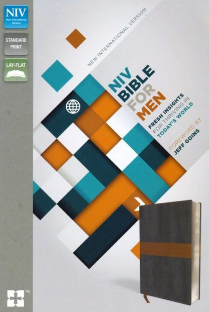 NIV Devotional Bible for Men--soft leather-look, charcoal/tan