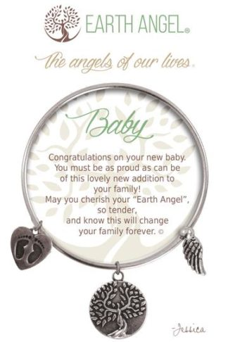"""Earth Angels Charm Bracelet """"Baby"""" Antique Silver"""