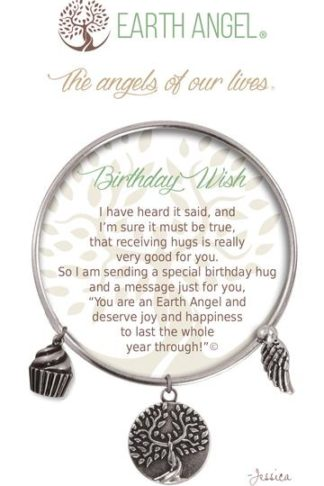 "Earth Angel Charm Bracelet ""Birthday Wish"" Antique Silver"