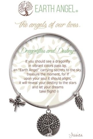 "Earth Angels Charm Bracelet ""Dragonflies and Destiny"" Antique Silver"