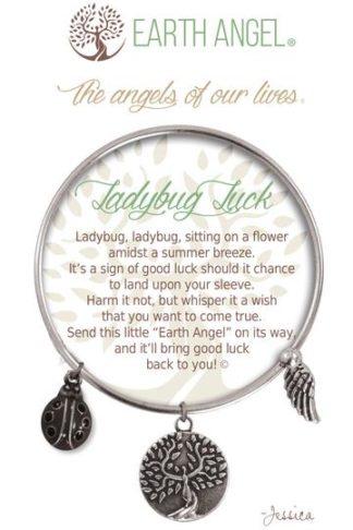 "Earth Angel Charm Bracelet ""Ladybug Luck"" Antique Silver"