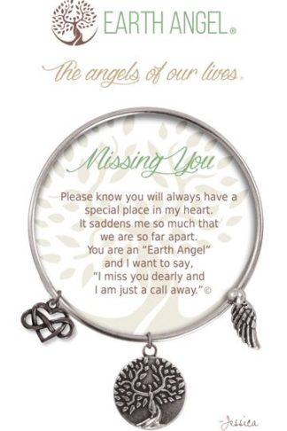 """Earth Angels Charm Bracelet """"Missing You"""" Antique Silver"""